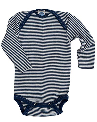 Cosilana Baby Body Wollbody®, Größe 62/68, Farbe geringelt Marine-Natur - Wollbody®GmbH