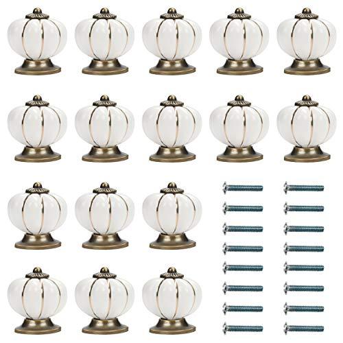 Kurtzy Pomos para Cajones Calabaza Blanco y Dorado con Tornillo (Pack de 16) 3,6 x 3,9 cm - Tiradores Vintage para Muebles en el Hogar y Oficina - Pomos Blancos Gabinete Cocina, Cajones y Alacena