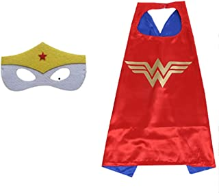 Double sided Kids or adults mini Wonder woman comic superhero costume with mask and cape