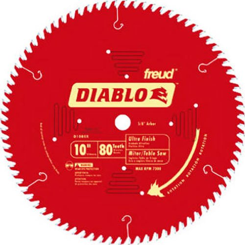 Freud D1080X Diablo 10-Inch 80-tooth ATB Finish Saw Blade with 5/8-Inch Arbor and PermaShield Coating