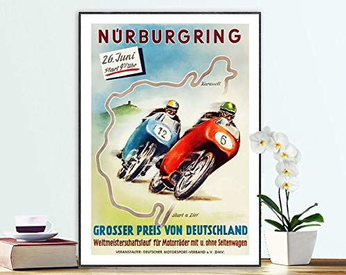 Nürburgring Grosser Preis Von Deutschland Vintage Motorcycle Poster - Poster Paper, Sticker Or Print / Gift Idea | Poster No Frame Board For Office Decor, Best Gift For Family And Your Friends 11.7*1