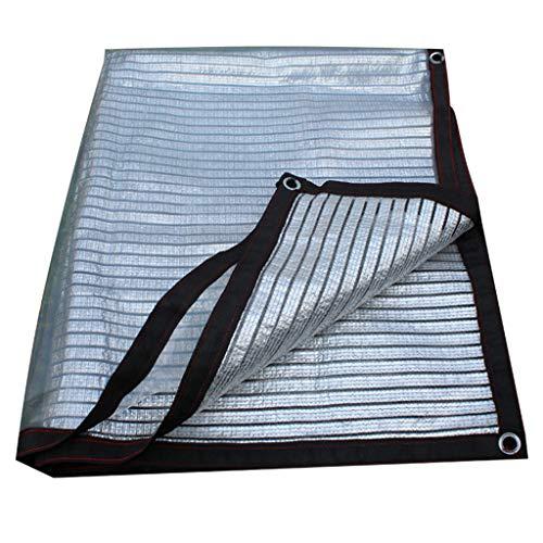 Lona alquitranada Malla de sombreado de Doble Capa, 75% a Prueba de Rayos UV, a Prueba de Lluvia, a Prueba de Sol, Aislamiento térmico y Transpirable, Tela de Aluminio para sombrear