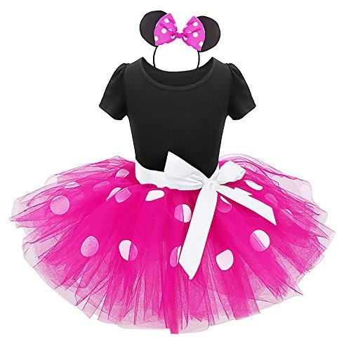 Disfraz de princesa para niña, vestido de tutú de lunares con diadema y nudo de mariposa, traje para ceremonia de cumpleaños, 12 meses a 6 años 02 Rose Vif 2-3 Años