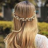Jovono Diadema de pelo de novia con cuentas para el pelo de novia, accesorio para dama de honor para mujer (dorado)