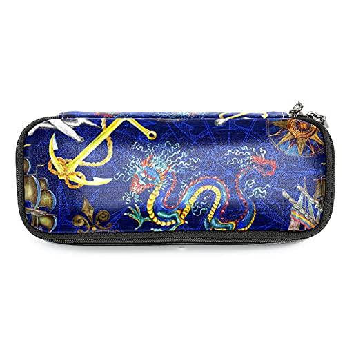 Estuche de gran capacidad para lápices de almacenamiento, bolsa de maquillaje para estudiantes, escuela, oficina, dragón y ancla de nave