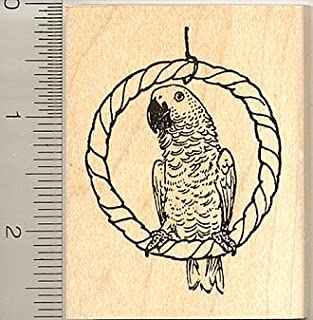 African Grey Parrot Rubber Stamp - Wood Mounted