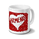 printplanet Tasse mit Namen Armend - Motiv Rosenherz - Namenstasse, Kaffeebecher, Mug, Becher, Kaffeetasse - Farbe Weiß