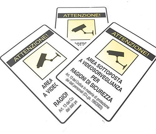 """IRPot - 3 X CARTELLI SEGNALETICI IN PVC """" AREA SOTTOPOSTA A VIDEOSORVEGLIANZA """""""