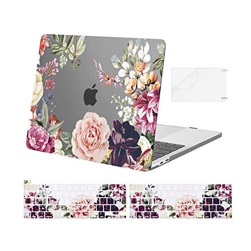 MOSISO Compatible with MacBook Pro 13 inch Case 2016-2020 Release A2338 M1 A2289 A2251 A2159 A1989 A1706 A1708, Plastic Rose Leaves Hard Shell Case&Keyboard Cover&Screen Protector, Grey