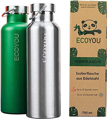 EcoYou Trinkflasche Edelstahl 750 ml Grün doppelwandig für Heiß- und Kaltgetränke, Wasserflasche Isolierflasche Thermoflasche, Sport - und Outdoor Flasche