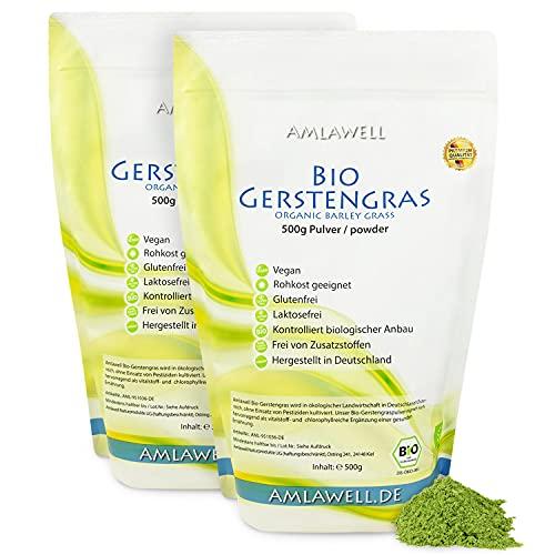 Amlawell Bio Gerstengras Pulver - Vegan - Superfood - mit Vitalstoffen - aus deutscher Herstellung - DE-ÖKO-039