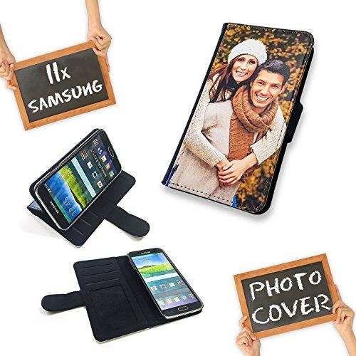 PixiPrints Premium Flipcase Etui mit eigenem Foto und Text * Flip Tasche Handy Book Schutzhülle, Kompatibel mit Samsung Galaxy S5 / S5 Neo
