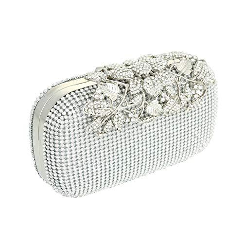 Adoraland Plata Color Diamante Cristal Noche Bolso Bolso de Embrague Para Fiesta y Baile de Fin de Curso Nupcial