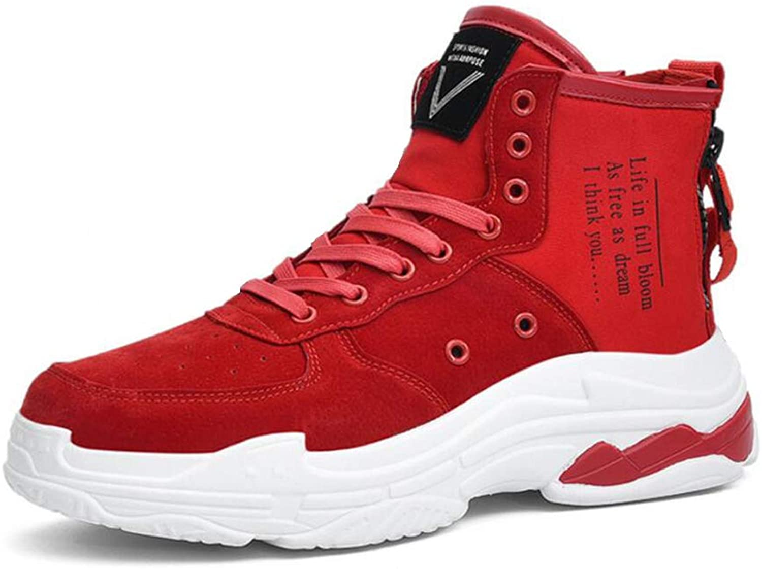 TD Road Running Casual shoes Casual shoes New Spring And Autumn Men's shoes High shoes Men's shoes Casual shoes Men (color   RED, Size   EU39 UK6 CN39)