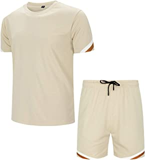 Men's 2 Piece Tracksuit Short Sleeve Top and Shorts