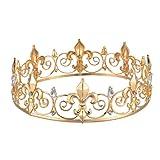 Eseres Gold King Crown for Men Full Round Fleur De Lis Crown Prom Queen Crowns