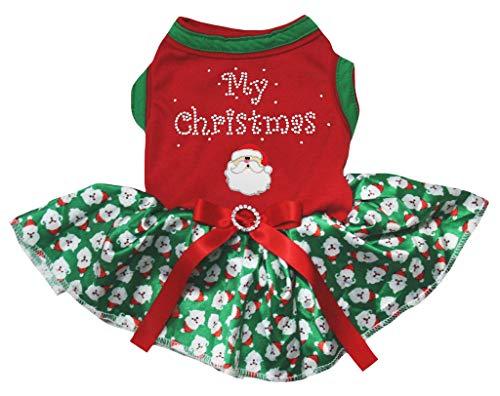 Petitebelle Mijn Kerstman Rood Katoen Shirt Tutu Puppy Hond Jurk, Small, Green Santa Claus Tutu