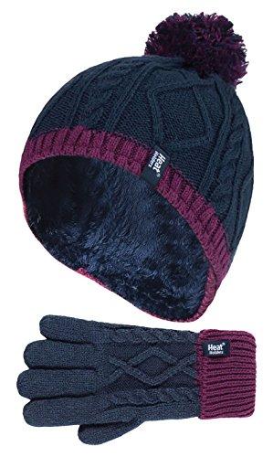 Heat Holders - Kinder Mädchen niedliches Zopfstrick, warmes Fleece gefüttert, Pompon, Wintermütze und Handschuhe mit Bommel Gr. One size, NP2P13