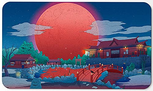 Paramint Blood Moon Shinto Anime (Stitched) - MTG Playmat - Compatible for Magic The Gathering Playmat - Play MTG, YuGiOh, Pokemon, TCG - Original Play Mat Art Designs & Accessories