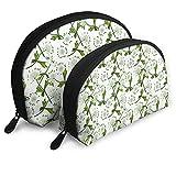 Bolsas portátiles Bolsa de embrague portátil,White Master Wort in Bloom,Shell Maquillaje Bolsa de almacenamiento con cremallera 2pcs