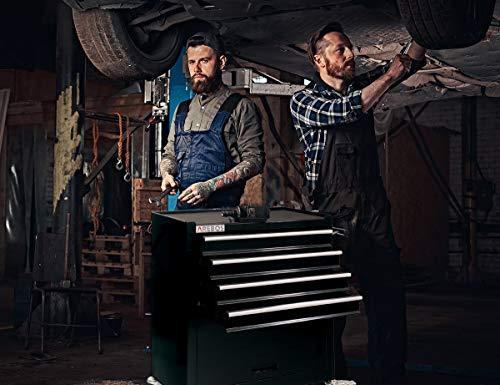 Arebos Werkstattwagen 4 Fächer + großes Fach/mit Antirutschmatten / 2 Rollen mit Festellbremse (Schwarz) - 6