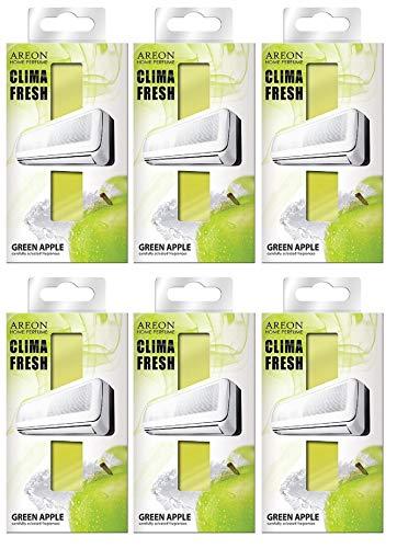Areon Klima Fresh Deodorant Klimaanlagen Apfel Grün Umwelt Parfums Haus duftenden Filter Papier Aroma Original (Green Apple 6Stück)
