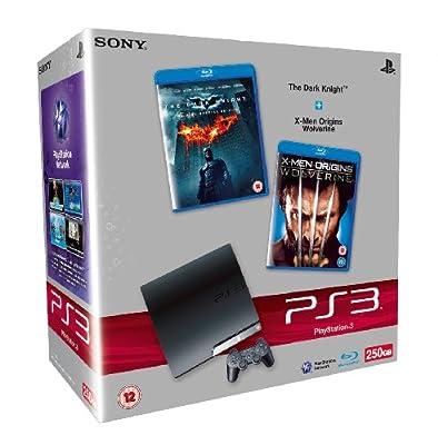 Sony PlayStation 3 Slim Console (250GB Model) with Blu-ray Movie Bundle