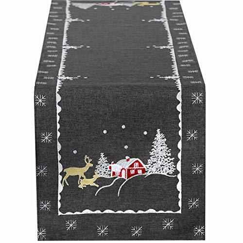 Simhomsen - Mantel de Navidad con diseño de Reno Bordado, Gris, 14 × 60 Inches