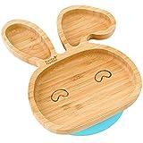 Plato con ventosa de succión para bebés y niños pequeños, queda en su sitio, hecho de bambú...