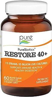 Pure Essence Labs PureBiotics Restore 40+ - Supports Immune & Digestive Health - Dairy & Gluten Free - 15 Probiotic Strain...