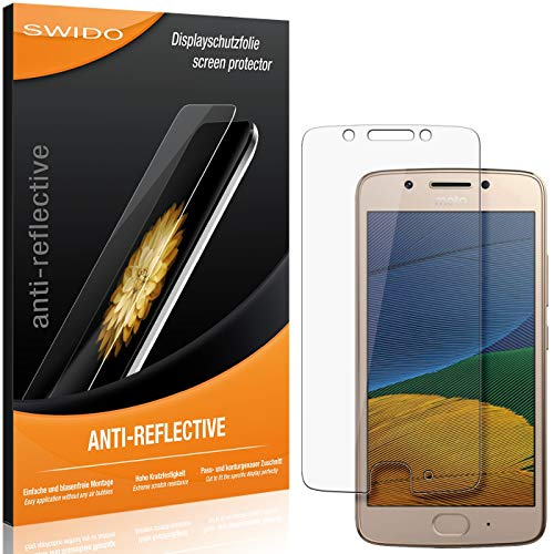 SWIDO Schutzfolie für Motorola Moto G5 [2 Stück] Anti-Reflex MATT Entspiegelnd, Hoher Festigkeitgrad, Schutz vor Kratzer/Folie, Bildschirmschutz, Bildschirmschutzfolie, Panzerglas-Folie