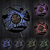 HIDFQY Guitare électrique Design Vinyle Record Horloge Murale Instrument de Musique Studio de Musique Unique Art Moderne rétro Vinyle LP Sangle de Suspension Murale LED