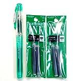 Platinum Fountain Pen, New Preppy, Fine Nib, Green (PSQ-300#41) + Ink Cartridges SPN-100A#41 (Green) Set (Japan Import) [Komainu-Dou Original Package]