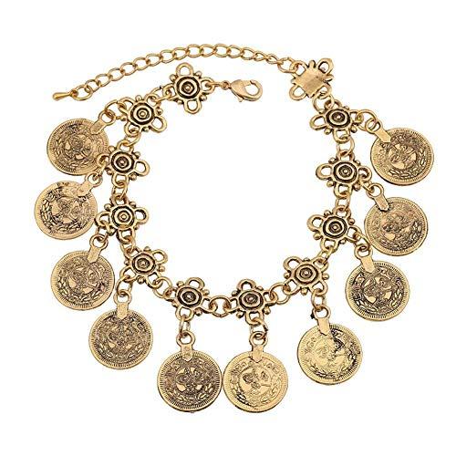 Uteruik Retro metalen ketting armband met kwastje munt 18x5cm, 1 stks goud