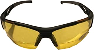 The Jackson HD Night Driving Safety Glasses with Bifocal Readers, Unisex Half Frame Wrap Around Yellow Lens Sunglasses for Men and Women, ANSI z87.1 Safety Glasses, Black/Yellow Lens + 2.50