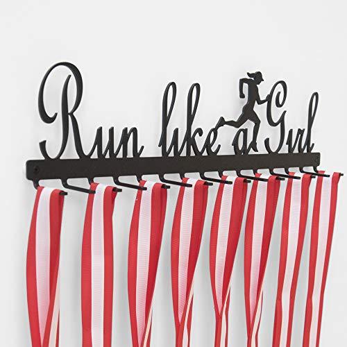Qthrone Medallero Gancho de Carreras (Running) – Run Like a Girl (en Negro) - Porta medallas para Corredor Femenino - Female Runner Medal Display Holder