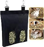 Lurowo – Bolsa de heno colgante para herbivore de tela Oxford de alta calidad, bolsa de almacenamiento esencial para pequeños animales (negro)