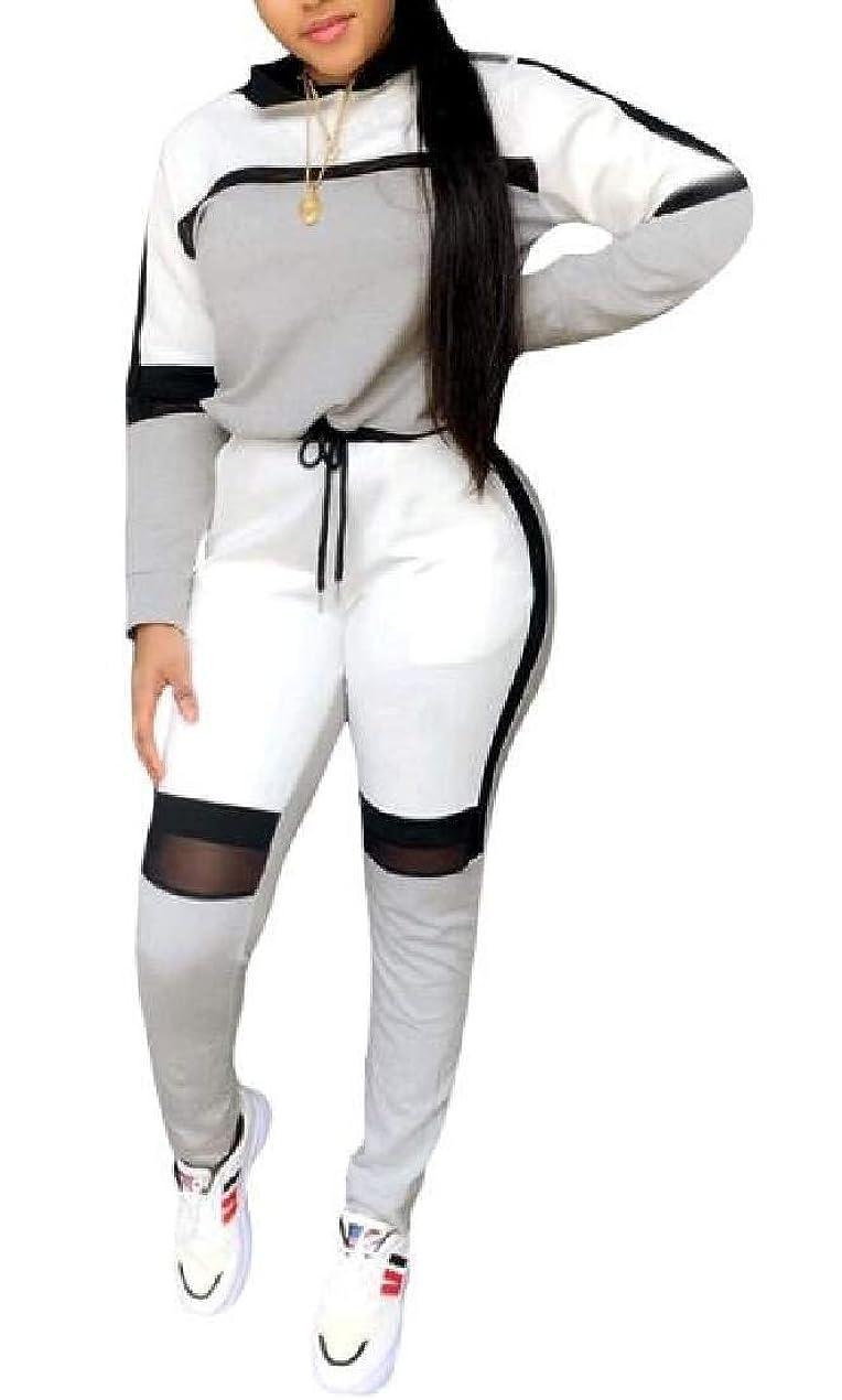 ラバトレードラショナルTracksuit Color Block 2 Pieces Outfits Sweatshirt Long Sleeve Top with Pant Set