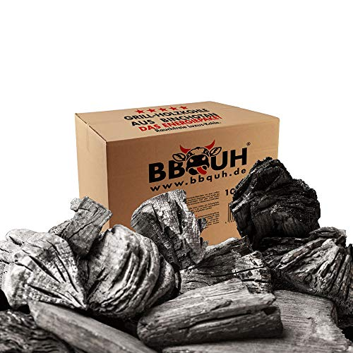 BBQUH Holzkohle,Grillkohle aus Binchotan (Aktivkohle),10kg,Binchotanholzkohle,Schadstoffarm und rauchfrei, Steakhouse und Gastronomie Qualität, für echte Könner