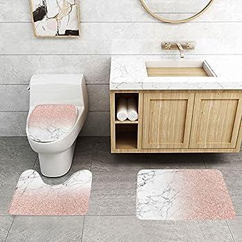 Marble Rose Gold Bathroom Rugs 3 Piece  No Glitter  Pink Marble Texture Mats Sets Bath Non-Slip Rug U-Shaped Contour Mat Toilet Lid Cover Carpet Bath Decor