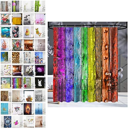 Sanilo® Duschvorhang, viele schöne Duschvorhänge zur Auswahl, hochwertige Qualität, inkl. 12 Ringe, wasserdicht, Anti-Schimmel-Effekt (180 x 200 cm, Rainbow)