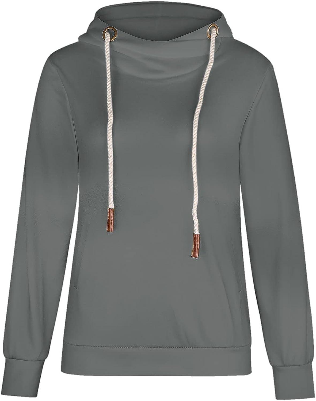 Yxiudeyyr Women Hoodies Cowl Neck Long Sleeve Leopard Print Color Block Hooded Pullover Drawstring Sweatshirt Tops
