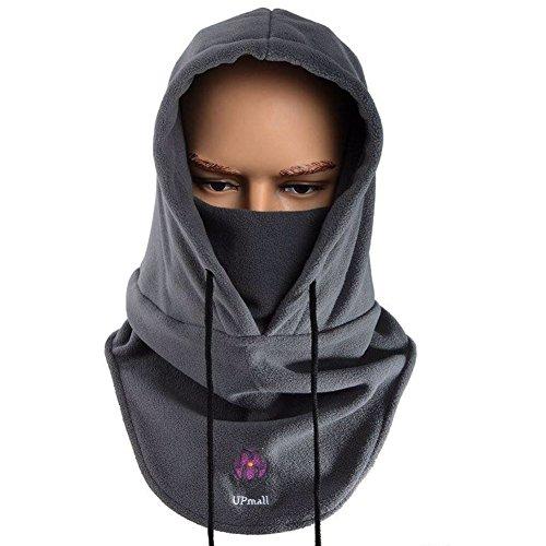 Passamontagna tattico, maschera completa per viso in pile caldo, per sport invernali all'aperto, resistente al vento, con cappuccio, Uomo, Grey, Taglia unica