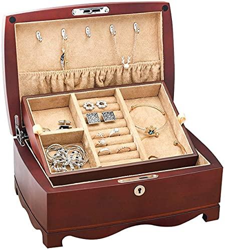POUAOK Caja de joyería de Madera Maciza Organizador de Joyas Accesorios de Caja Caja de Bloqueo de Llave de Almacenamiento Caja de joyería de Madera de 2 Niveles para Mujeres