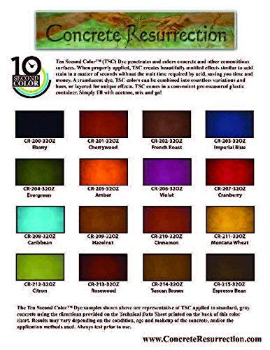 16 Color Sample Pack - Professional Fast Drying Concrete Stain - Easy to use! Ten Second Color Acetone Dye Concrete Stain