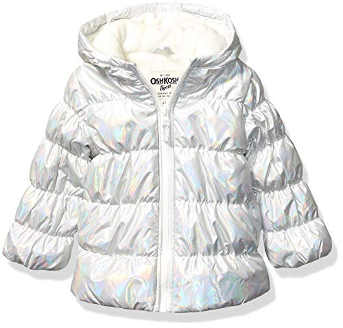 OshKosh B'Gosh Mädchen Perfect Puffer Jacket Jacke, Silberfarbenes Hologramm, 3 Jahre