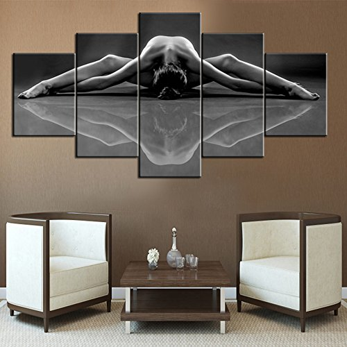 Rustic Home Decor for Living Room Hot Sex Lady Canvas Wall Art Black and White Paintings Naked Girl Pictures,5 Panel Wall Art Modern Artwork Giclee Framed Gallery-wrapped Ready to Hang(60