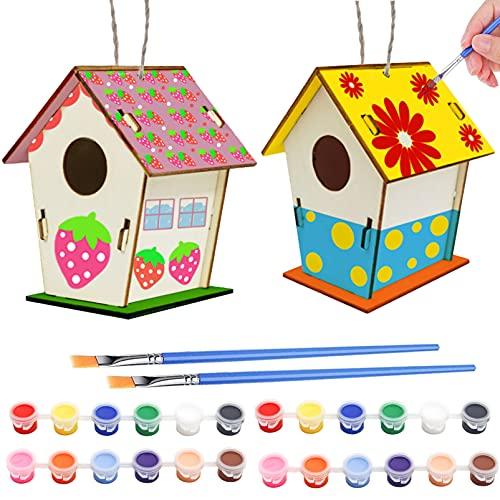 Sunshine smile DIY Holz Vogelhaus Bausatz,2 Stück Vogelhaus Bemalen Kit, Vogelhaus Bausatz,DIY Holz Vogelhaus...