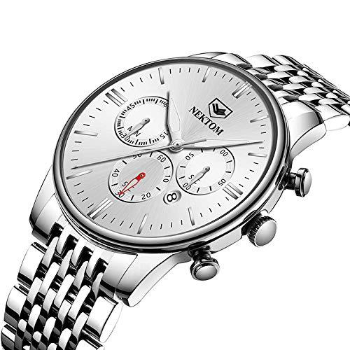 Reloj automático para Hombre Relojes de Cuarzo Informales de Cuero -A