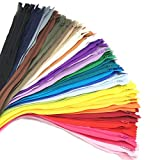 60pcs 20 inch Zippers-25Colors Nylon Coil Zipper Bulk #3 Zippers for Tailor Sewing Crafts